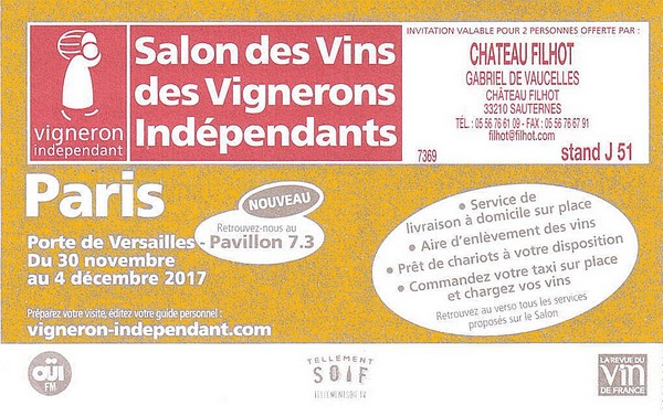 Salon des vignerons ind pendants chateau filhot - Invitation salon des vignerons independants ...